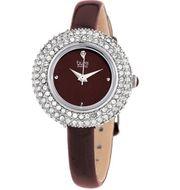 Đồng hồ nữ Burgi BUR195BUR dây da bóng màu nâu viền mâm xôi
