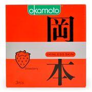 Bao Cao Su Okamoto Skinless Skin Strawberry Hương Dâu Hộp 3 Cái