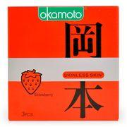 Combo 2 hộp  BCS Okamoto Skinless Skin Strawberry Hương Dâu Hộp 3 Cái