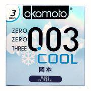 Bao Cao Su Okamoto 003 Cool Siêu mỏng Bóng Láng Mát lạnh Hộp 3 Cái