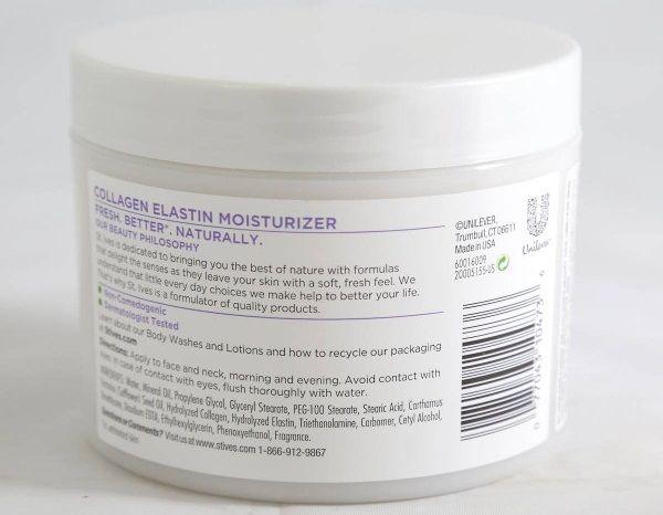 Kem Dưỡng Ẩm ST.IVES Collagen 283g chứa các thành phần tự nhiên an toàn cho làn da