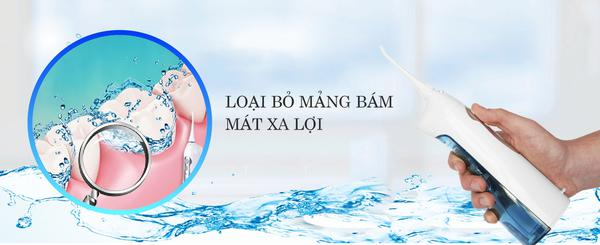 Máy tăm nước du lịch Procare KH02P làm sạch răng và lợi nhờ áp lực tia nước và nhịp rung