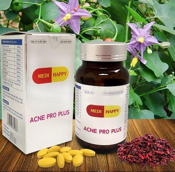 Viên uống trị mụn Medi Happy Acne Pro Plus chiết xuất từ thảo dược thiên nhiên có công dụng tốt trong việc hỗ trợ trị mụn